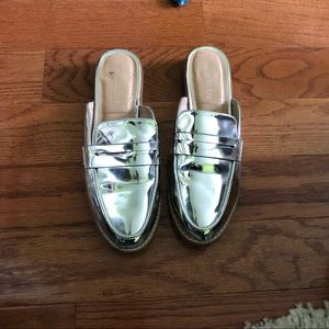 metallic silver slip on loafers